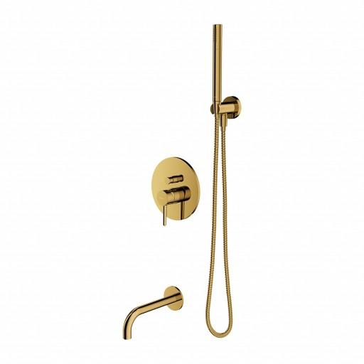 Potinkinis auksinis maišytuvas voniai