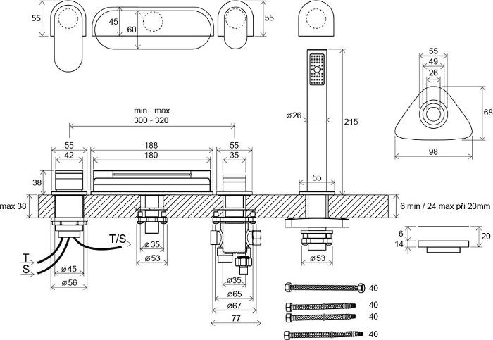 Maišytuvo-krioklio vonioms Chrome CR 025.00 brėžinys su matmenimis