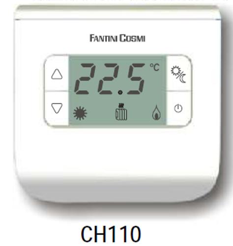 Neprogramuojamas skaitmeninis patalpos termostatas su ekranu 2-40°C Fantini Cosmi FC-CH110 (baltas)