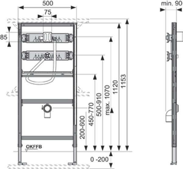 Potinkinio universalaus TECEprofil pisuaro modulio matmenys