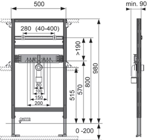 Potinkinio universalaus TECEprofil praustuvo modulio matmenys