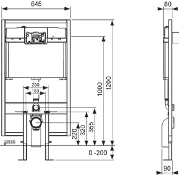 Potinkinio universalaus TECEprofil WC modulio matmenys