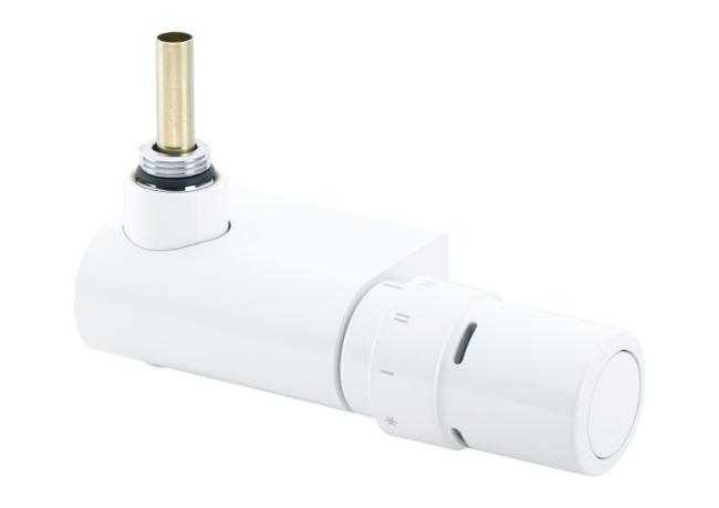 Kampinis termostatinis ventilis Danfoss 013G4387, veikiantis nuo vandens temperatūros, baltas