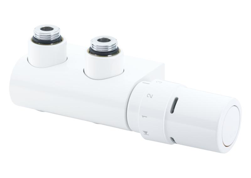 Kampinis termostatinis elementas 013G4381, atstumas tarp ašių 50 mm, baltas