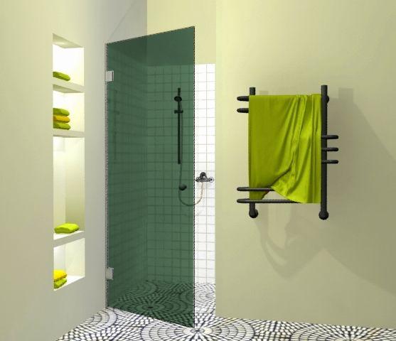 Dušo durys Griubner SL-D1 žaliai tonuotu stiklu