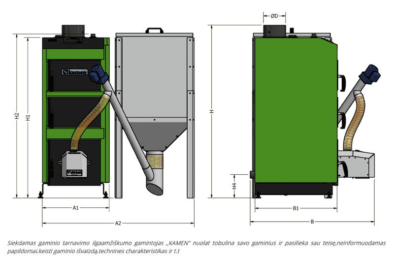 Granulinio katilo Kamen Pellet Kompakt brėžinys