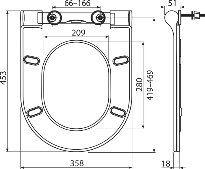 Unitazo sėdynės Ravak Uni Chrome Slim brėžinys