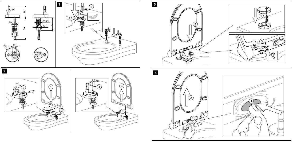 Unitazo sėdynės Ravak Uni Chrome Slim montavimo schema