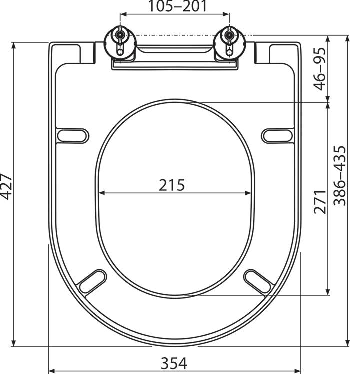 Unitazo sėdynės Ravak Uni Chrome brėžinys