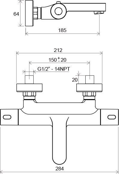 Sieninio termostatinio dušo maišytuvo Ravak Termo 300 TE 023.00/150 brėžinys