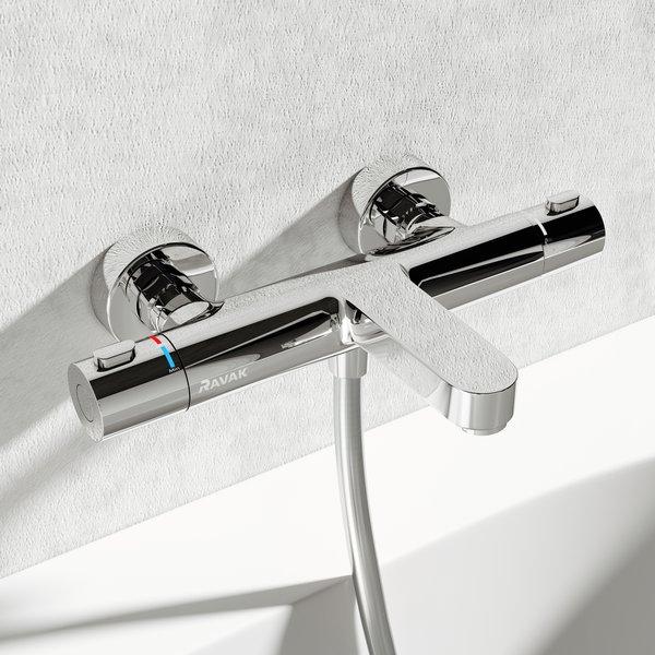 Sieninis termostatinis dušo maišytuvas Ravak Termo 300 TE 023.00/150 interjere