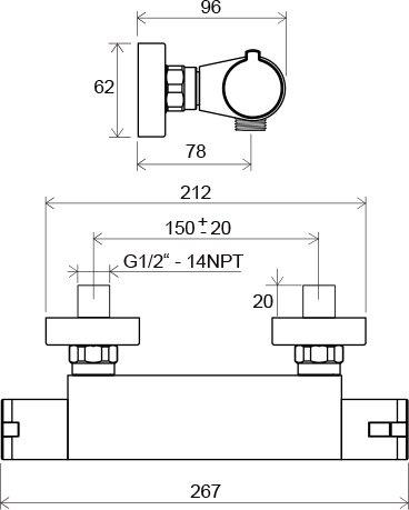 Sieninio termostatinio dušo maišytuvo Ravak Termo 200 TE 072.00/150 brėžinys
