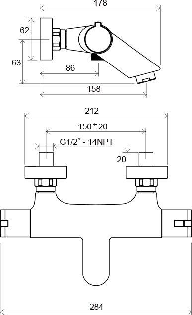 Sieninio termostatinio dušo maišytuvo Ravak Termo 100 TE 022.00/150 brėžinys