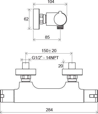 Sieninio termostatinio dušo maišytuvo Ravak Termo 100 TE 032.00/150 brėžinys
