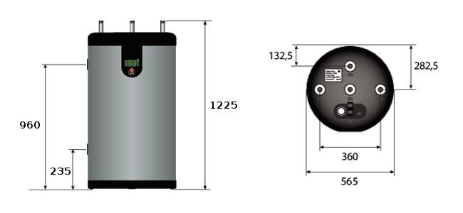 Boilerio ACV Smart Green 160 matmenys.