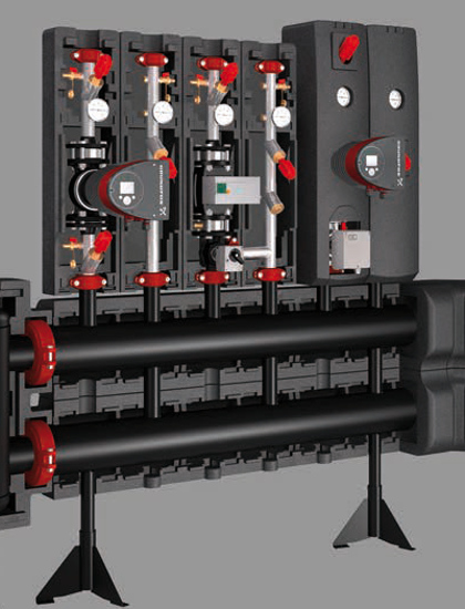 Meibes plieninis skirstytuvas, prijungtas prie šildymo įrangos