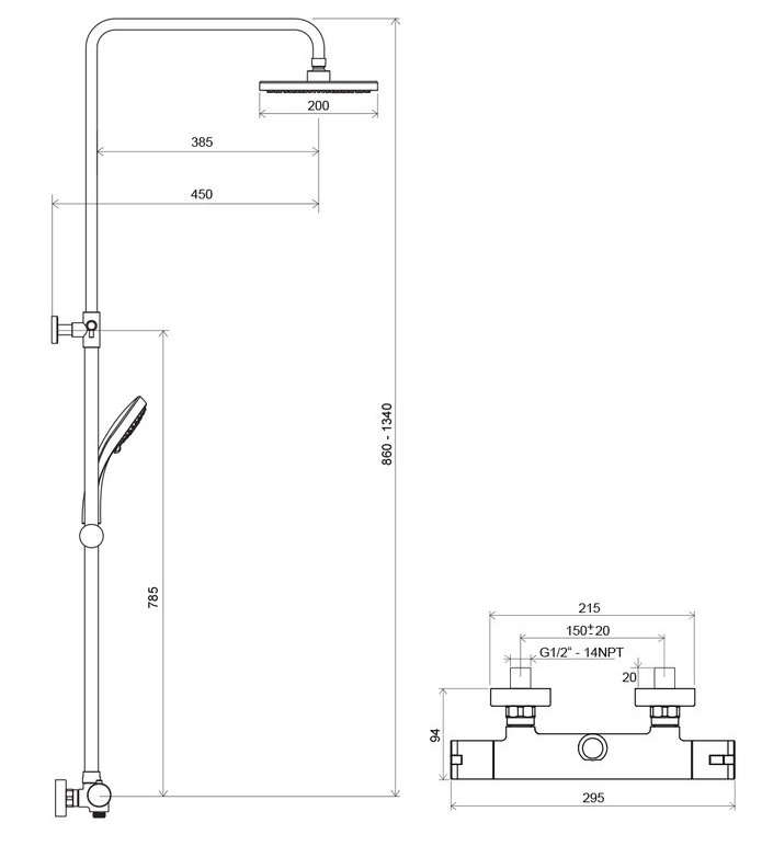Dušo stovo Ravak Termo 100 TE 091.00/150 su termostatiniu maišytuvu ir dušo komplektu brėžinys