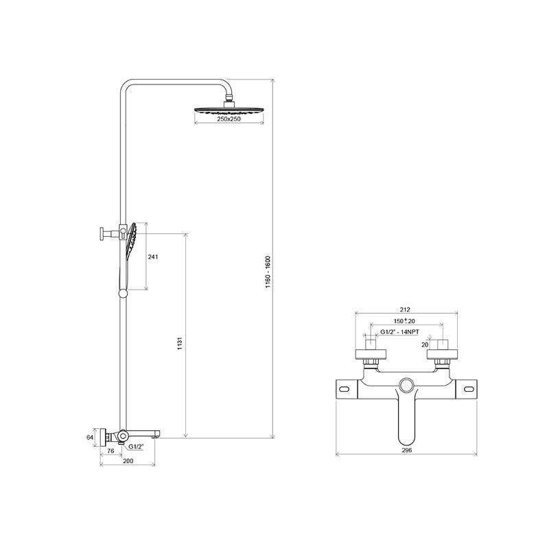 Dušo stovo Ravak Termo 300 TE 092.00/150 su termostatiniu maišytuvu ir dušo komplektu brėžinys