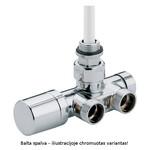 Baltas kampinis vožtuvas vienvamzdei/dvivamzdei sistemoms; atstumas tarp ašių 40 mm.